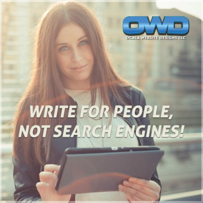 WOMAN ON TABLET - WRITE FOR PEOPLE NOT SEARCH ENGINES