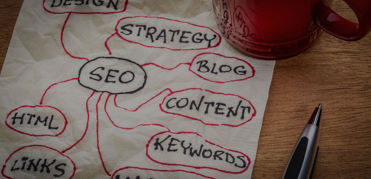 SEO STRATEGY WRITTEN ON NAPKIN